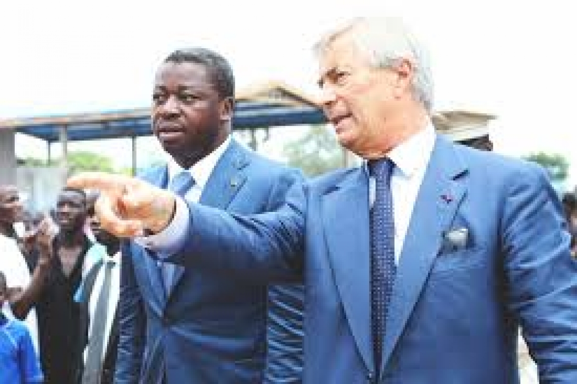 Le Chef de l'Etat togolais, Faure Essozimna Gnassingbé  (gauche) et  Vincent BOLLORE (photo archives)